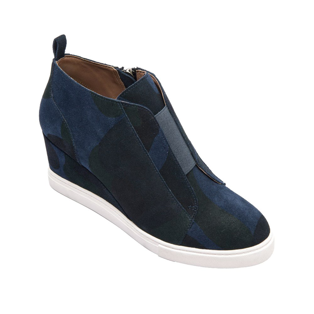 Linea Paolo (New Fall) Felicia Women's Sneakers - Comfortable Padded Sneaker Wedge Dark Navy/Green Camouflage Printed Suede 10M
