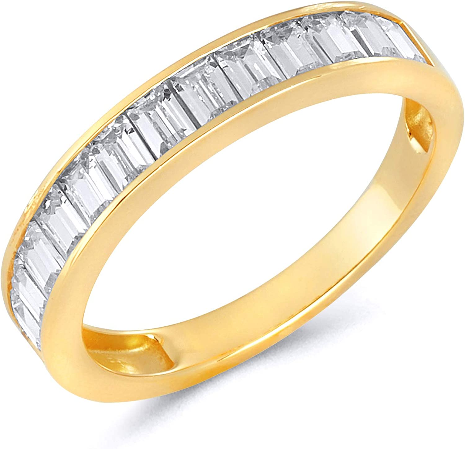 Combination Trendy CZ /& Baguette Band In 925 Sterling Silver10kt Gold14kt Gold Engagement Ring For Christmas
