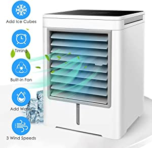 PBQWER Portable Air Cooler, Mini Air Conditioner, 3 in 1 Personal Evaporative Cooler, Humidifier, Purifier with USB, Timer, 3 Speed Desktop Cooling Fan for Home, Room, Office