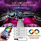 Car LED Strip Light, Wsiiroon Newest Style App Controller Car Interior Lights, Brighter LED Lamps, Infinite DIY Colors with Sound Active Function for iPhone Android Smart Phone(DC 12V)