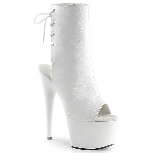 SummitFashions Womens High Heel Combat Boots Peep Toe Lace