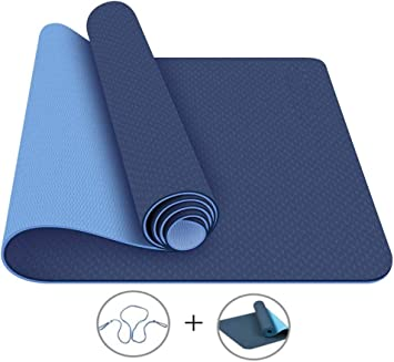 Lixada Esterilla de yoga TPE Pilates Mat con correa de transporte y bolsa de almacenamiento antideslizante Fitness Mat para gimnasio en casa 72 x 61 cm