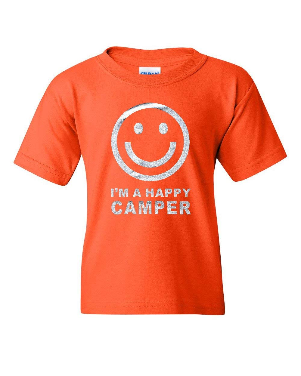 I'm a Happy Camper Smiley Face Youth T-Shirt Tourism Camping Travel Kids Tee Orange L