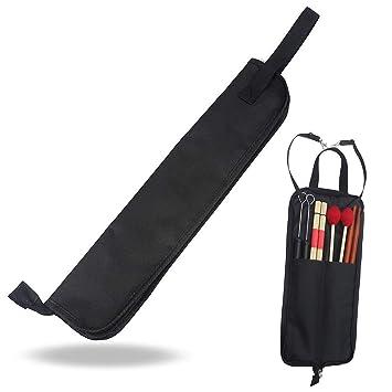 Xrten Funda Bolsa Portátil para Baquetas de Batería, Negro - 2 Compartimentos