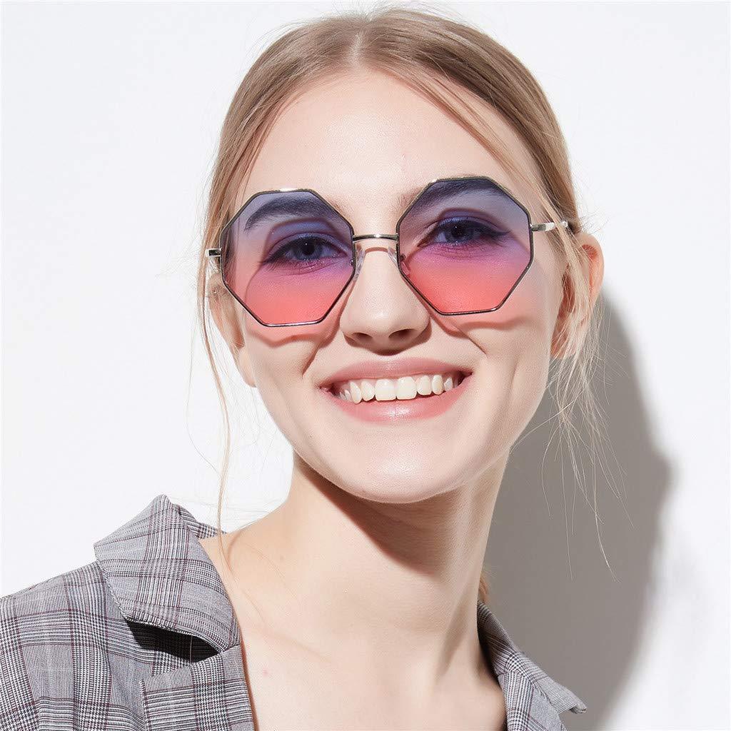 KUDICO Unisex Sonnenbrille Sechseckform Metallrahmen Retro Eyewear Stylish Reading Polarized Mirror Driving Glasses Hippie Kost/üm Karneval Verlaufsglas
