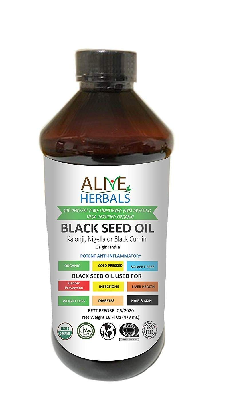 Alive Herbals Black Seed Oil Organic Cold Pressed - 100% Raw Unfiltered, Vegan & Non-GMO, No Preservatives & Artificial Color. Amber Glass 16 oz. (16 OZ Plastic)