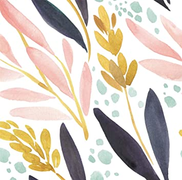 Haokhome 93027 Watercolor Forest Peel And Stick Wallpaper Removable White Pink Navy Yellow Floral Vinyl Self Adhesive Shelf Liner 17 7in X 9 8ft Amazon Com