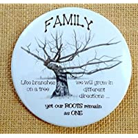 "Fridge Magnet: 3.5"", FAMILY, Drawing of Gnarled Tree With Quote About Family Roots"