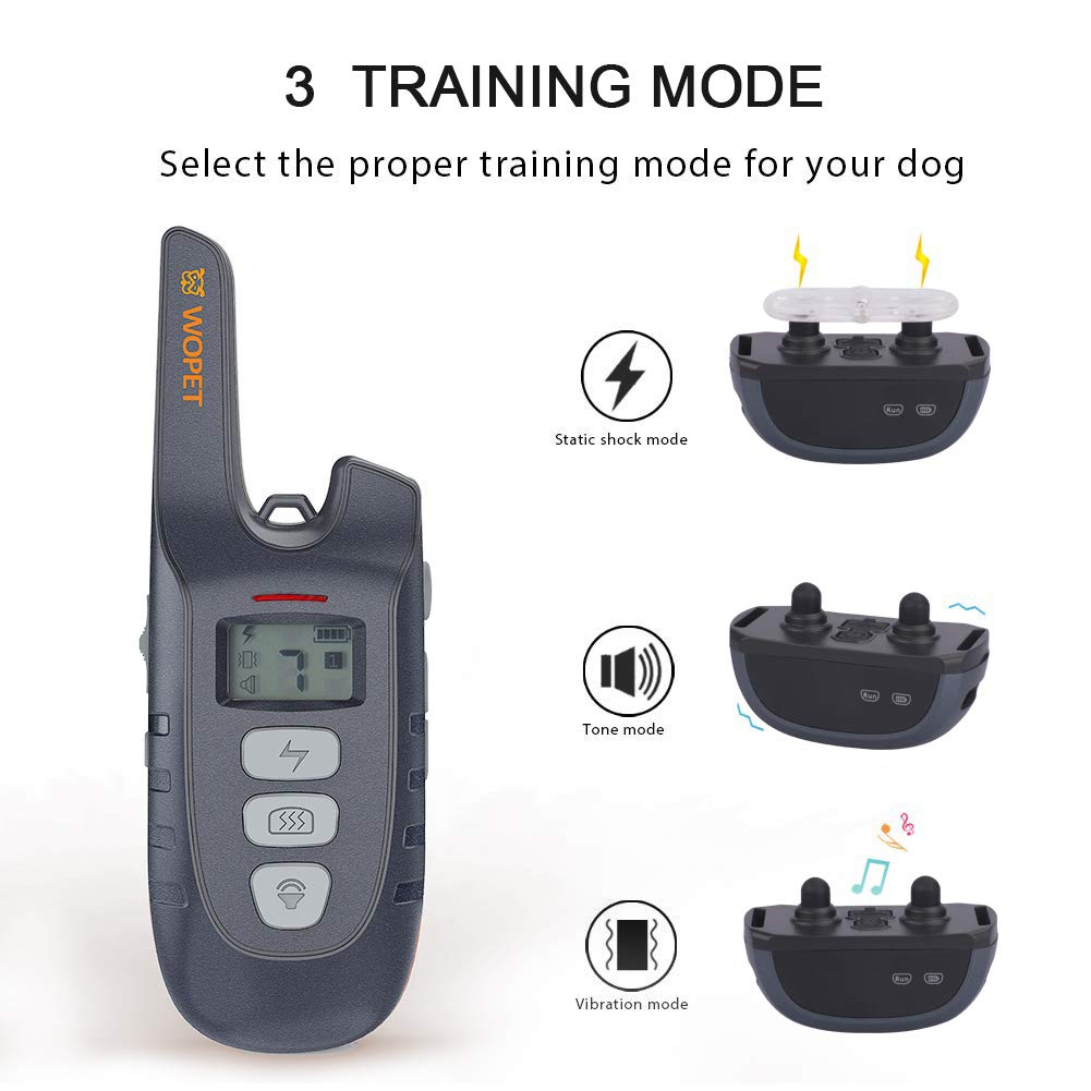 WOpet Dog Training Collar, 1500ft Remote Dog Shock Collar, 100% Waterproof and Rechargeable with Electric/Shock/Vibra/Beep Control Collar for Small Medium Large Dogs by WOpet (Image #2)