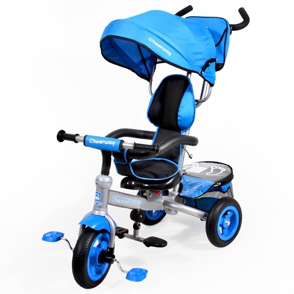 HAIZHEN マウンテンバイク 子供の三輪車1-6歳のシートは自転車カーボンフレームを回転させることができます天井の光インフレータブルゴムタイヤフロントホイールクラッチベビーベビーカー 新生児 B07DL7KH8G青
