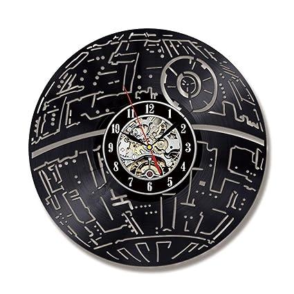 HMer Reloj de Vinilo Decoración Reloj de Pared de Vinilo Muerte Star Wars Star Wars Reloj