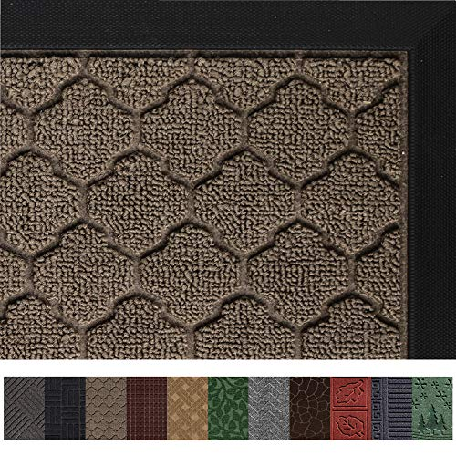 Gorilla Grip Original Durable Rubber Door Mat (29 x 17) Heavy Duty Doormat, Indoor Outdoor, Waterproof, Easy Clean, Low-Profile Mats for Entry, Garage, Patio, High Traffic Areas (Beige: Quatrefoil)
