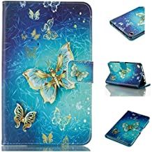 Vandot Folio Case for Fire 7 2015,Slim Fit Premium PU Leather Magnetic Stand Wallet Case Flip Cover Colorful Painting Pattern for Amazon Fire 7 inch Tablet (5th Generation - 2015 Release)-Gold Blue Butterfly