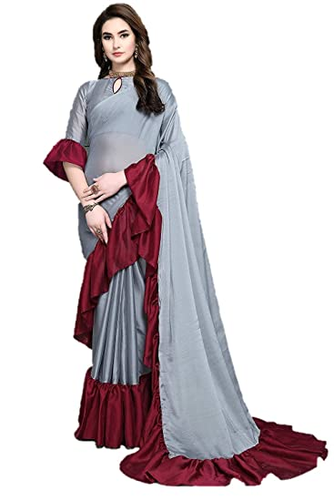e1eda43072b1e Krishna Adv Women s Chiffon Ruffle Saree with Blouse Piece (gery   red)   Amazon.in  Clothing   Accessories