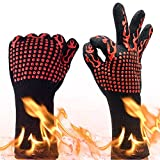 BBQ Grilling Gloves932°F Heat Resistant Oven Mitts Comfortable Wearing Gloves Barbecue Gloves for Men Women 13.8(inch) Long for Extra Forearm Protection 1 Pair (Fire-Red) | Runwinker
