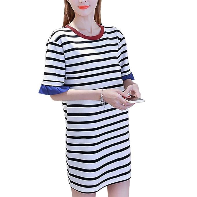 KINDOYO Vestido Lactancia de Mujer Embarazo - Moda Clásico Raya Premamá Blusa Maternidad de Manga Corta Camiseta Vestidos Verano: Amazon.es: Ropa y ...