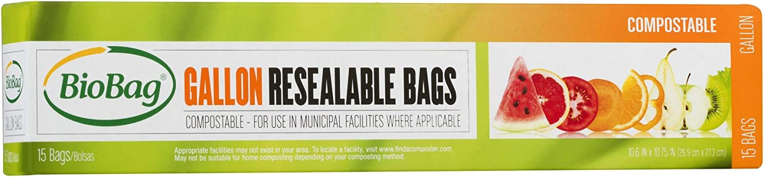 BioBag Resealable Compostable Food Storage Bags, Gallon, 180 Count