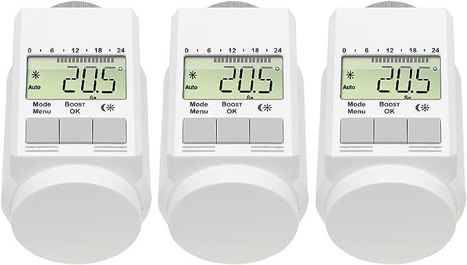 AGT Lot de 4/thermostats de radiateur programmables avec syst/ème d/économie d/énergie