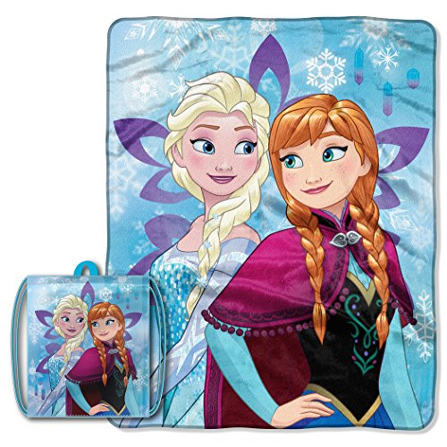 Micro Plush Raschel (Licensed Character Drawstring Tote and Micro Raschel Throw Blanket Set - Soft, Plush and Comfortable (Frozen - Anna Elsa))