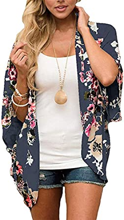 Finoceans Women Kimono Cardigan Floral Loose Open Front Chiffon Cover Up Tops