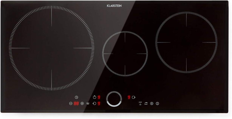 Klarstein Delicatessa 80 - Placa de inducción autosuficiente, 80 cm, 3 zonas, 7000 W, Paella-Zone, Booster, temporizador, vitrocerámica, color negro: Amazon.es: Grandes electrodomésticos