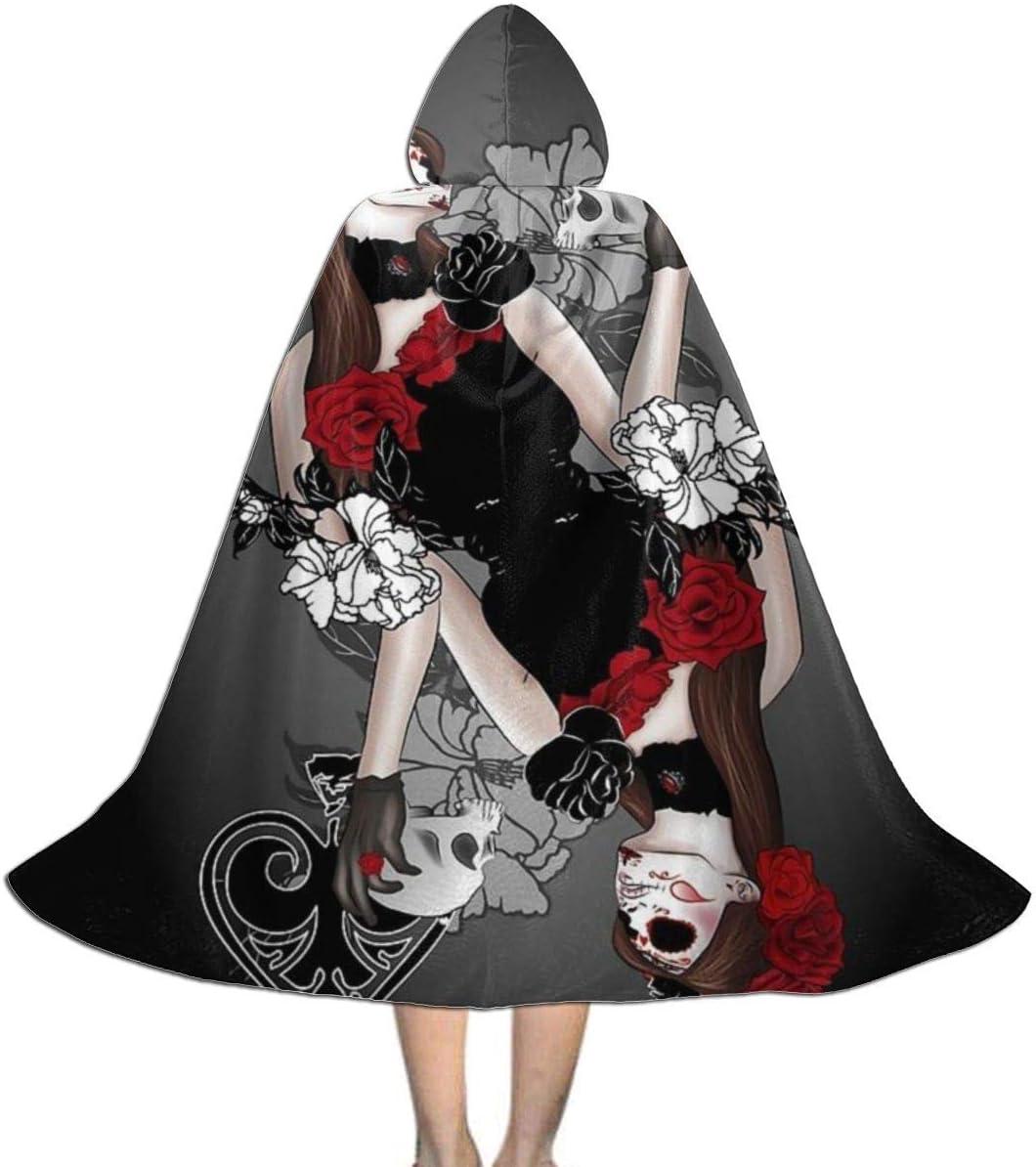 Capa Capa para niños con Capucha Reina de Espadas Cabeza de Calavera Rosas Disfraces de Halloween