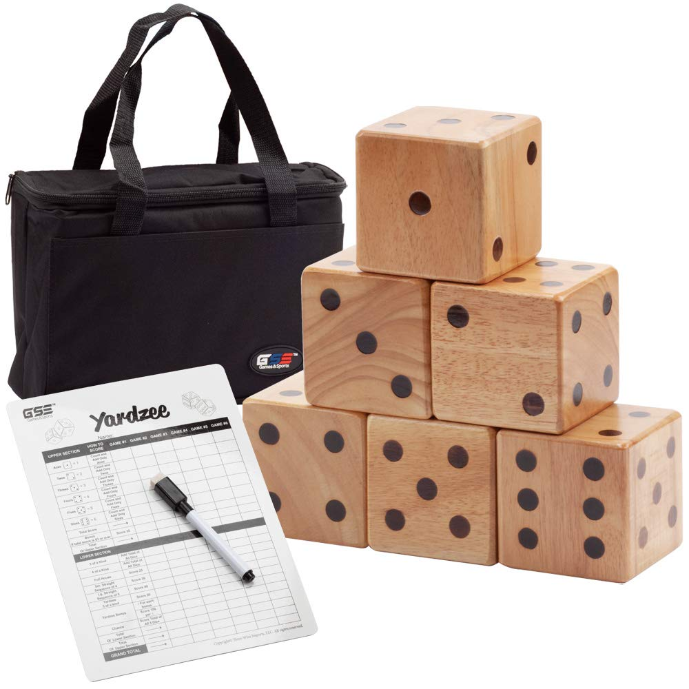 GSE Games & Sports Expert 3.5-Inch Giant Yard Dice Set with Bucket. Yardzee & Farkle Giant Yard Dice Set for Outdoor, Backyard Lawn Game Set (Dice Set with Carrying Bag)