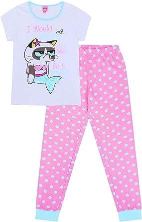 Pijama largo de algodón con diseño de gato gruñón con texto en inglés