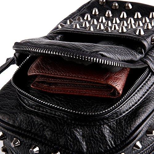 M?nnlich/weiblich Brust Packungen mit weichem Leder Nieten Gewaschenes Leder Tasche Schulter Umh?ngetasche