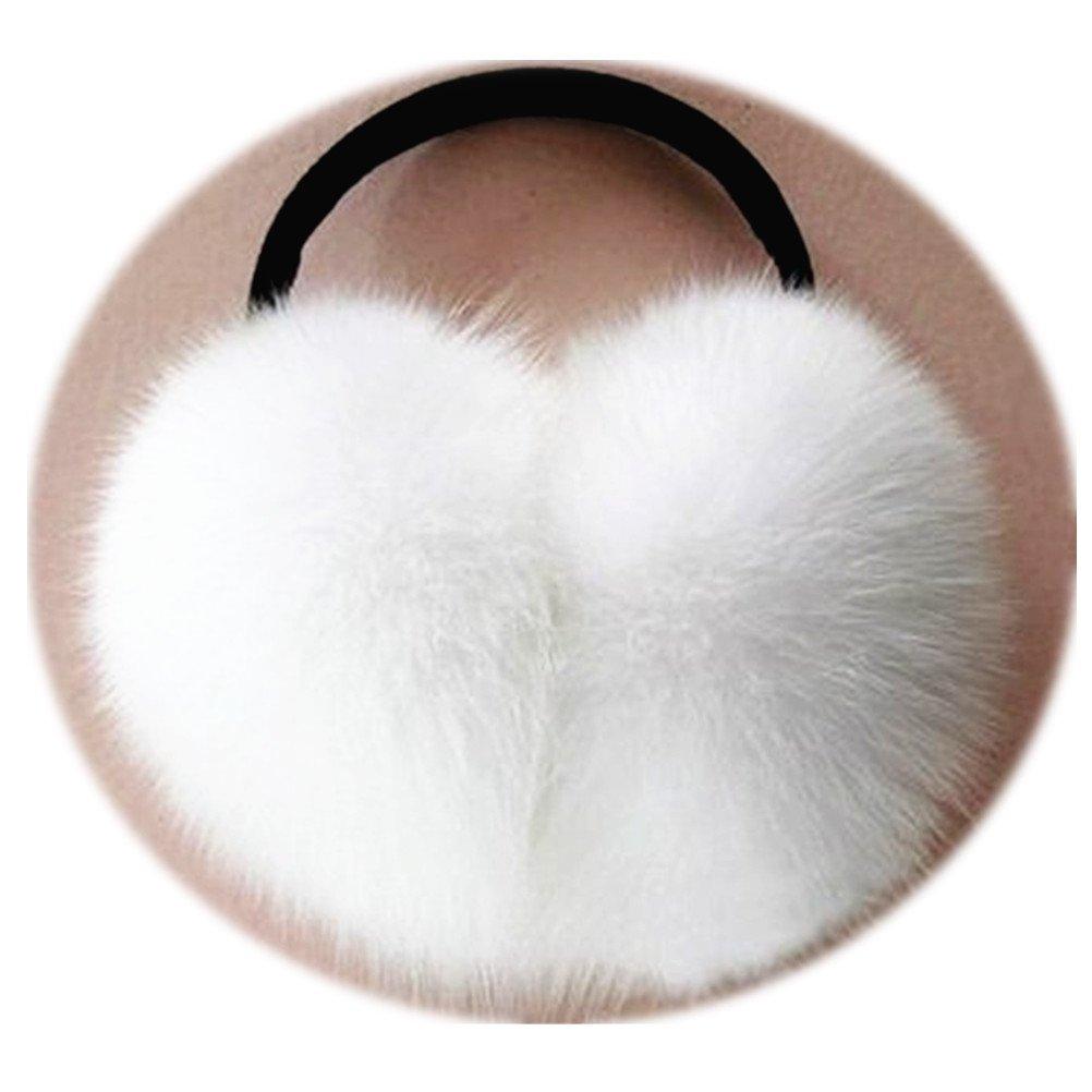 TRUE-FUR Genuine Fox Fur Earmuffs Furry Earflap (White)