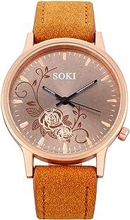 Muranba Woman Fashion Leather Band Analog Quartz Round Wrist Watch Watches