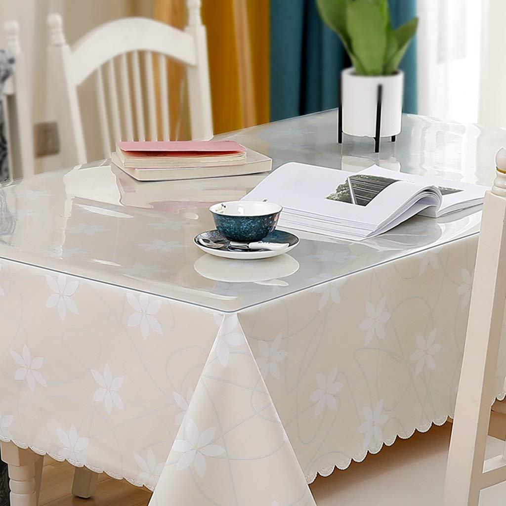 長方形のテーブルクロス、透明なPVC 1.3 mm厚いテーブルクロス+小さな新鮮なテーブルクロスの組み合わせセット CFJRB (Color : PVC+cloth, Size : 90X160+130X200cm) 90X160+130X200cm PVC+cloth B07SJ4YPTL