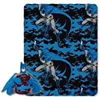 "Warner Brothers ""Batman, Dark Night"" Fleece Throw with Hugger, 40 by 50-Inch"
