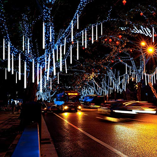 Invin LED Meteor Shower Lights, Falling Rain Lights, Christmas Lights 30cm 8 Tube 144 LEDs, Falling Rain Drop Icicle String Lights for Christmas Tree Halloween Decoration Holiday Party Wedding (White) (Decorations Wedding Tree)