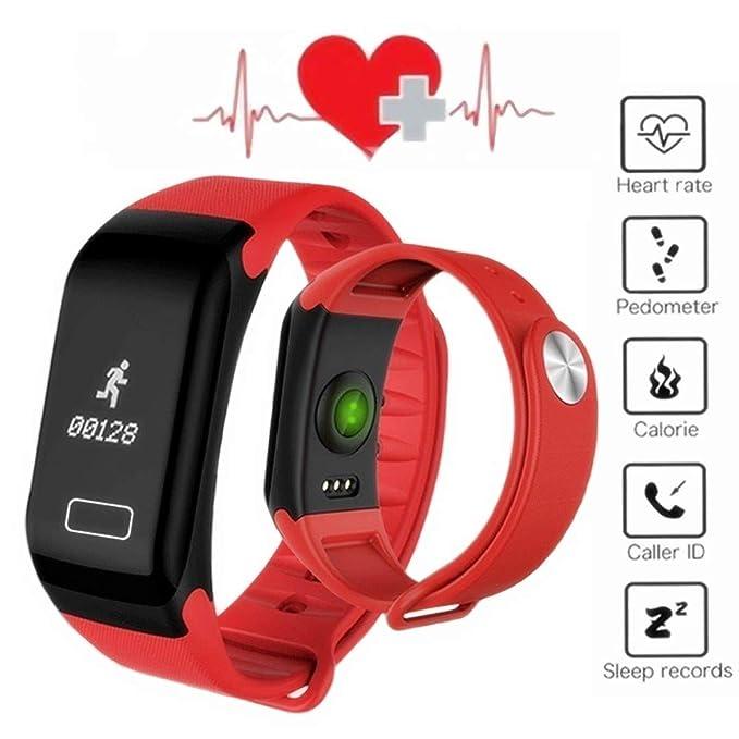 Reloj De Pulsera De F1 Smart Monitor de ritmo Cardiaco, Presion arterial Smartband - Smart Band Reloj Fitness Inalámbrico Para Android IOS Diferente (Rojo): ...