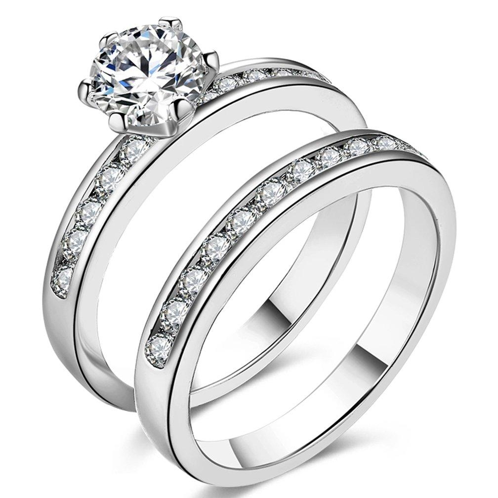 SAINTHERO Women's Pretty 18K Platinum Plated Princess Cut 0.5 Carat CZ Anniversary Wedding Band Engagement Solitaire Ring Enhancer Bridal Sets Size 6