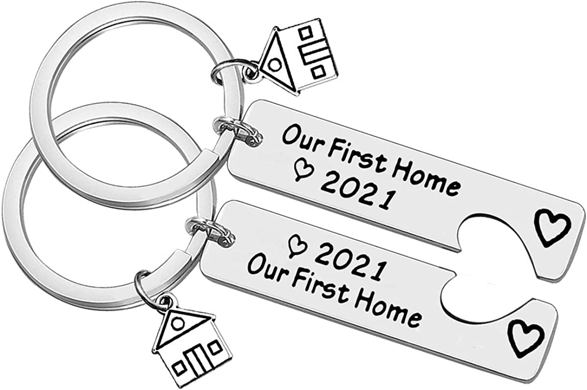 Our First Home 2021 Keychain Set for New Home Keychain Gift Housewarming Gift for New Homeowner Couples First Home Gift New House Keychain for Friends Family New Home Owners