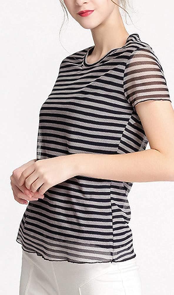 E-girl BS20039 - Camicia da donna in seta a righe, collo rotondo, senza maniche Nero