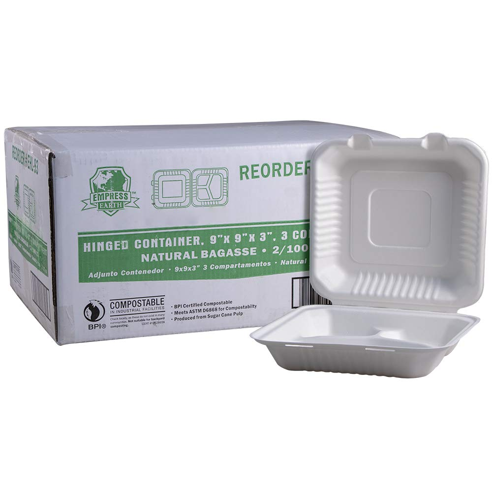200 per case EHL-93 Empress Earth Hinged Container Molded Fiber 9 X 9 X 3 Natural Deep 3-Comp 2//100