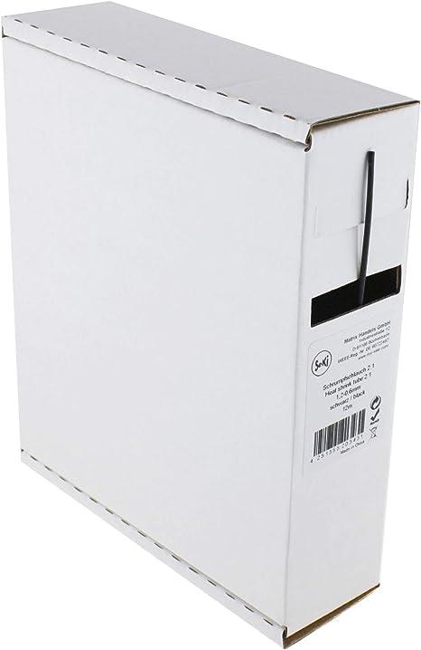 20 Meter BOX Schrumpfschlauch SCHWARZ 1,2 // 0,6 mm