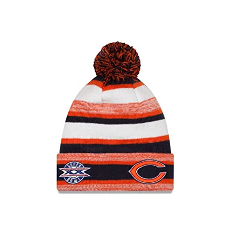 ccfe10c9f Image Unavailable. Image not available for. Color: Chicago Bears New Era NFL  Super Bowl XX Logo Striped Sport Knit Hat