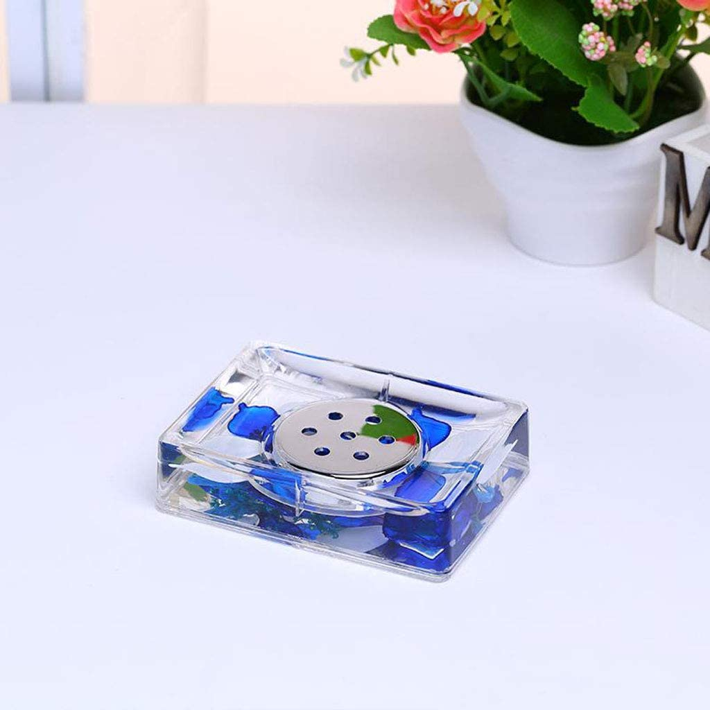 HUIJ Juego de Accesorios para ba/ño Porta cepillos de Dientes dosificador de jab/ón Jabonera y Vaso para Enjuague Bucal 4 Pieza Fabricados en acr/ílico Resistente Transparente