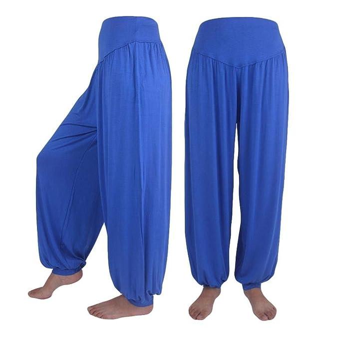 Mujer Pantalones Harem Verano Moda Anchas Color Sólido Pantalones De Linterna  Pantalones De Tiempo Libre Cintura Alta Elásticos Cómodo Elegantes Especial  ... 4ad02e1c5301