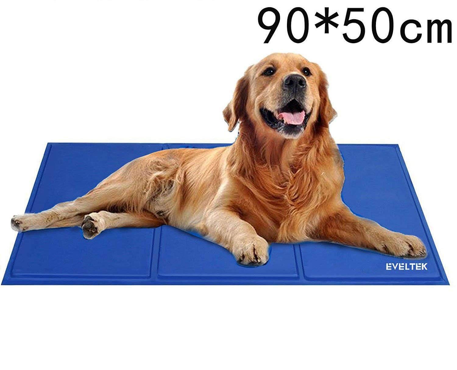 EVELTEK pet cool seat cool mat versatile dogs and cats for the car for notebook PC cooling gel sheet Hiehie refreshing cooling mat coolness sensation mat softgel bluee size 90  50cm medium and for large dogs