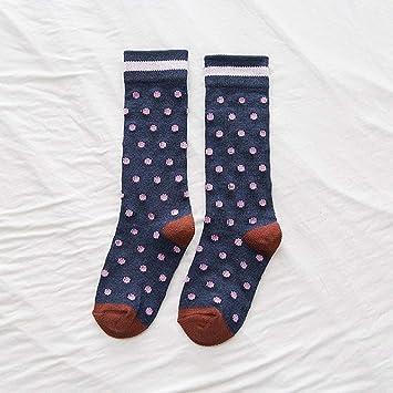SIKESONG Polka Dot Mujer Happy Socks Calcetines Sueltos Retro Cuello Redondo Calcetines Calcetines Vestido Suave Y
