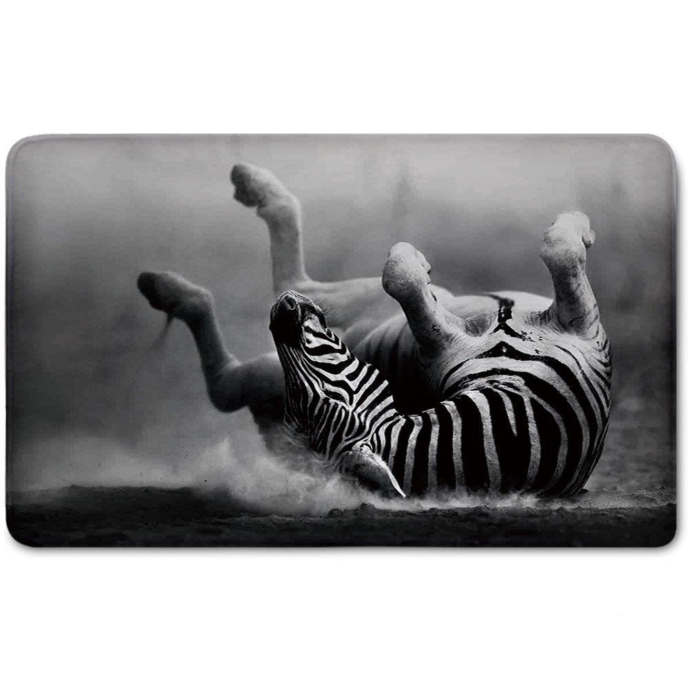 Memory Foam Bath Mat,Wildlife Decor,Zebra Rolling in the Dust Artistic Savage Mammal Activity Eco PhotoPlush Wanderlust Bathroom Decor Mat Rug Carpet with Anti-Slip Backing,Black and White