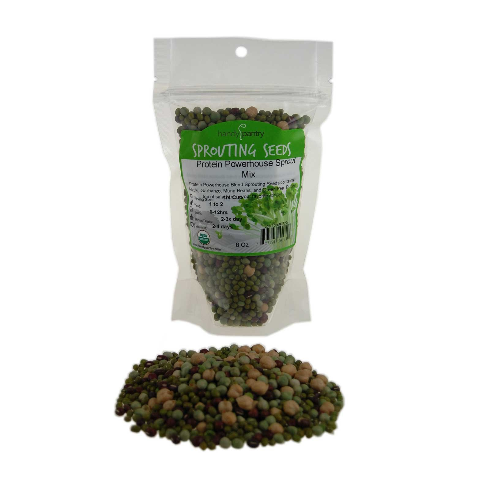 Protein Powerhouse Sprouting Seed Mix: 8 Oz - Organic, Non-GMO - Sprouting Sprouts, Food Storage. High Protien Sprouts - Pea, Mung, Green Pea, Adzuki