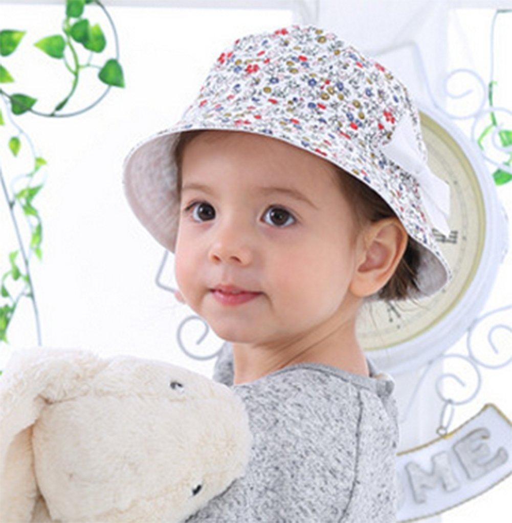 LAAT 1PCS Sombrero de Pescador de beb/é 44-49CM Floral Doble Uso de Doble Cara Arco extra/íble