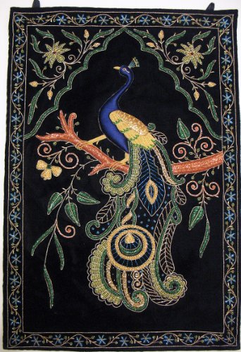 - NovaHaat Peacock Wall Hanging Rug Jewel Carpet Kashmir Hand Embroidery Indian Room Decor 36 Inch x 24 Inch