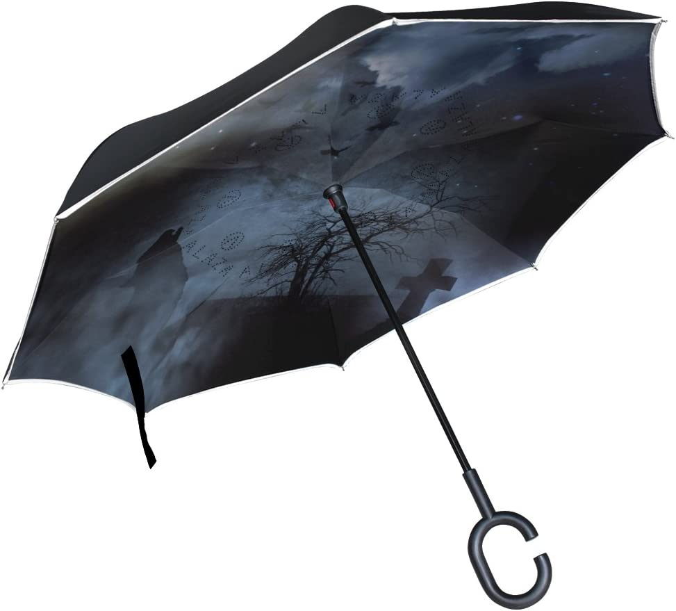 AHOMY Inverted Reverse Umbrella Black And White Paisley Windproof for Car Rain Outdoor